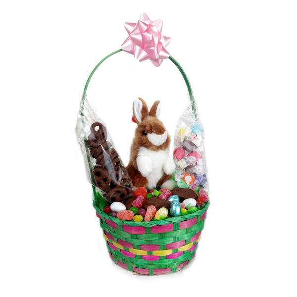 Multi-Color Basket with Plush Bunny - 5678P