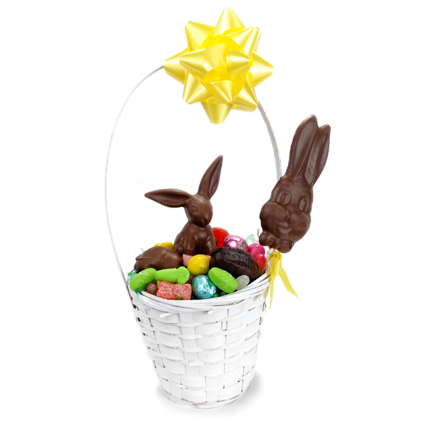 Small Basket Filled with Chocolate Bunny - 3520