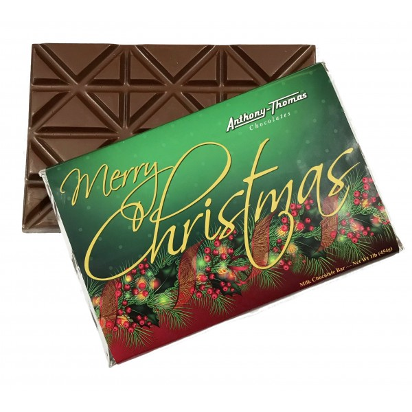 Merry Christmas Solid Milk Chocolate Bar 16 oz - 5244